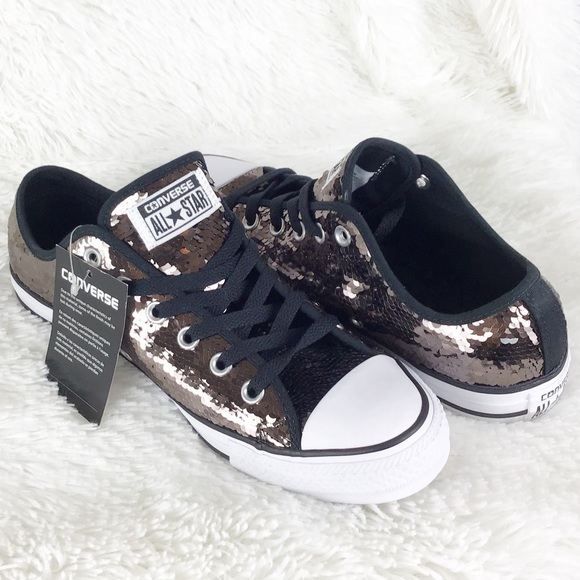 a064a0e37884 NWT Converse sequin sneaker gunmetal low top 9.5